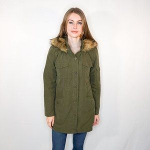 JACK by BB DAKOTA Faux Fur Trim Hood Green Parka